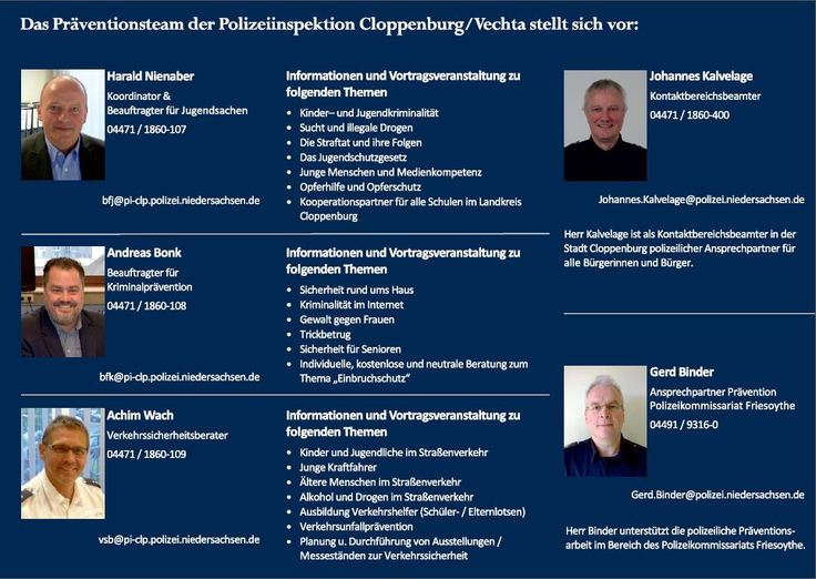 Das Präventionsteam der Polizeiinspektion Cloppenburg/Vechta